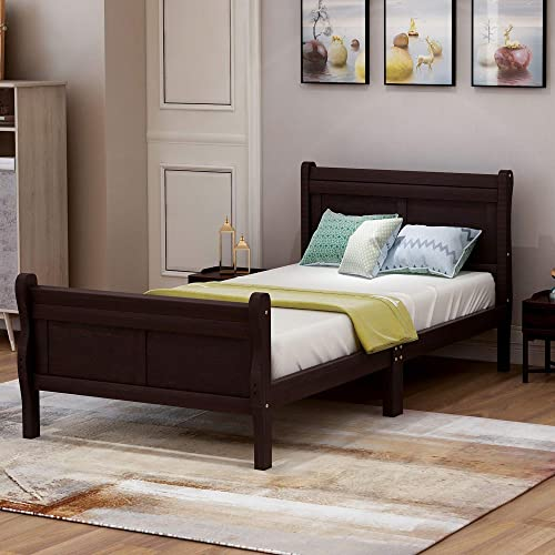 Wood Platform Bed Twin Bed Frame Mattress Foundation Sleigh Bed