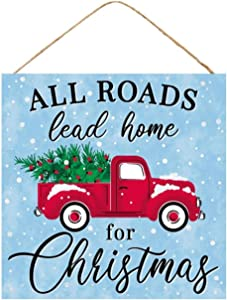 """Craig Bachman, 10"""" Wooden Sign: All Roads Lead Home - Vintage Red Truck with Christmas Tree"""