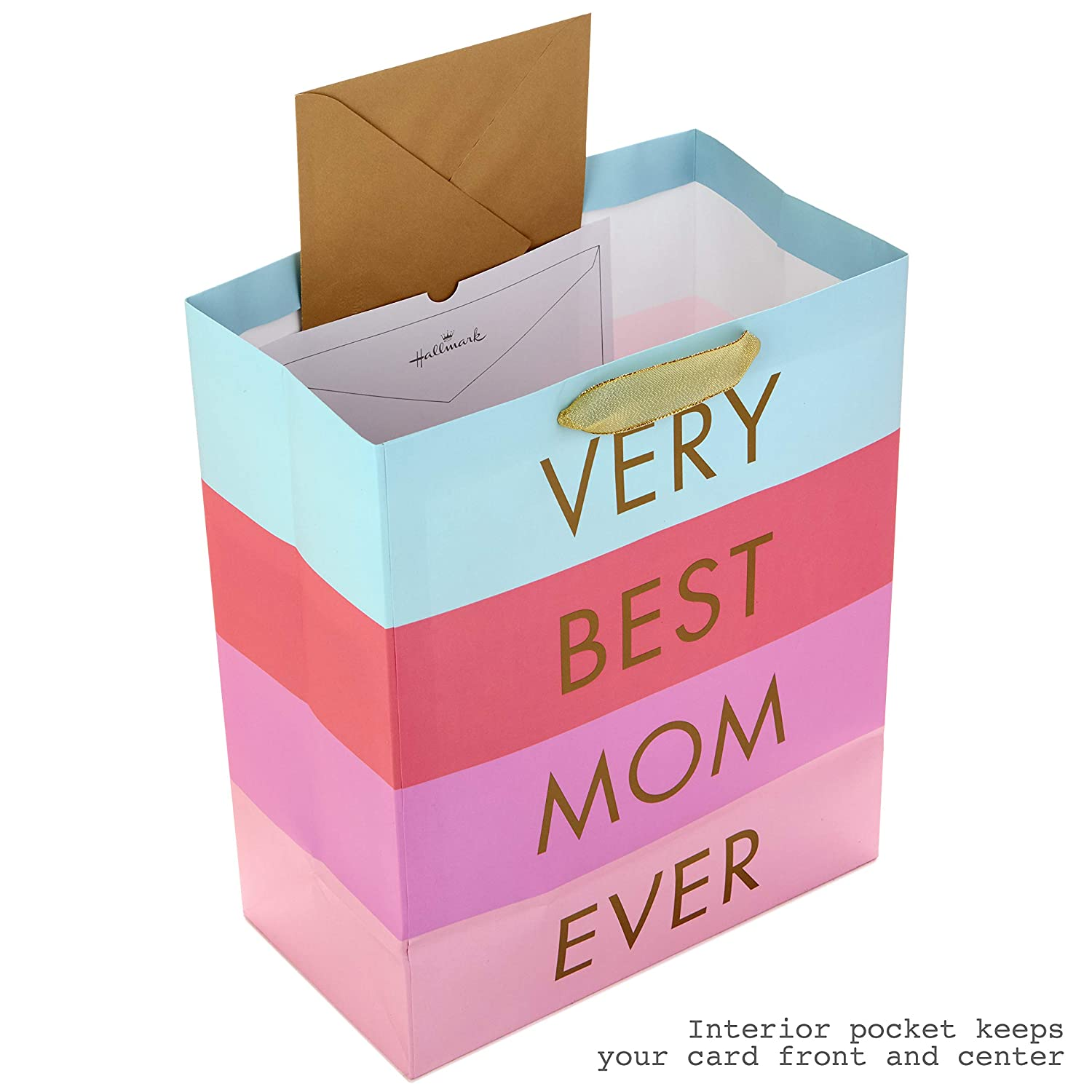 Hallmark 13 Large Mother Day Gift Bag with Tissue Paper  Very Best Mom Ever Blue Lavender and Pink