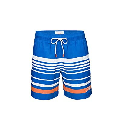 SWIMS Lucea Logo Men's Board Shorts Super-Light, Quick Drying Trunks in Blitz Blue - Size M | .com