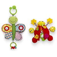 Delta Children Stroller Car Seat Activity and Teething Toys for Babies, Plush Toys Feature Crinkly Sounds, Teethers, Rattles, Mirrors, Sensory Motor Skills Development, 2-Piece Set Butterfly & Ladybug