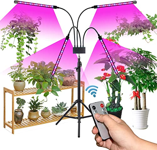 Grow Light with Stand, Growstar Newest Four-Head Full Spectrum Floor Plant Light with Dual Controllers for Indoor Plants, Tripod Stand Adjustable 15-47 in, Timing 3H 9H 12H, 3 Modes 10 Brightness
