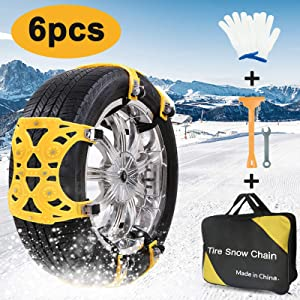 AgiiMan Snow Chains for Cars -Adjustable Emergency Anti-Skid 6Pcs Chains for Ice Road, Mud Road and Sand, Uphill Road Universal Snow Chains.XL