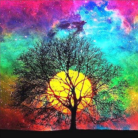 5D DIY Full Drill Diamond Painting Tree and Moon Rhinestone Embroidery Decor Art