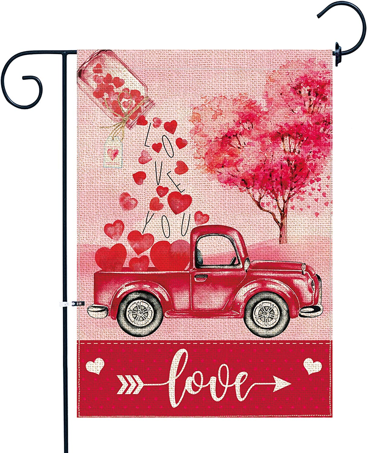 pinata Valentines Day Garden Flag, Premium Burlap Double Sided Valentine's Day Flag for Yard Outdoor Decoration 12x18 Inch