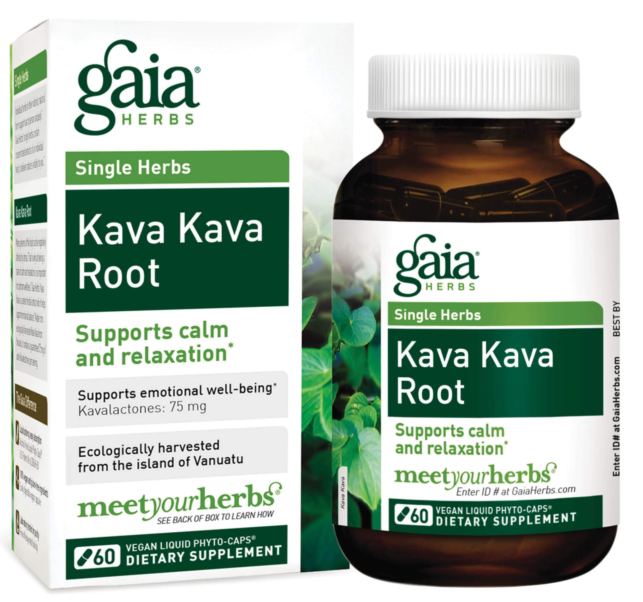 Gaia Herbs Kava Kava Root Vegan Capsules, 60 Count - Supports Emotional Balance, Calm and Relaxation, Ecologically Harvested Kava from Vanuatu, Guaranteed Potency 75mg Active Kavalactones