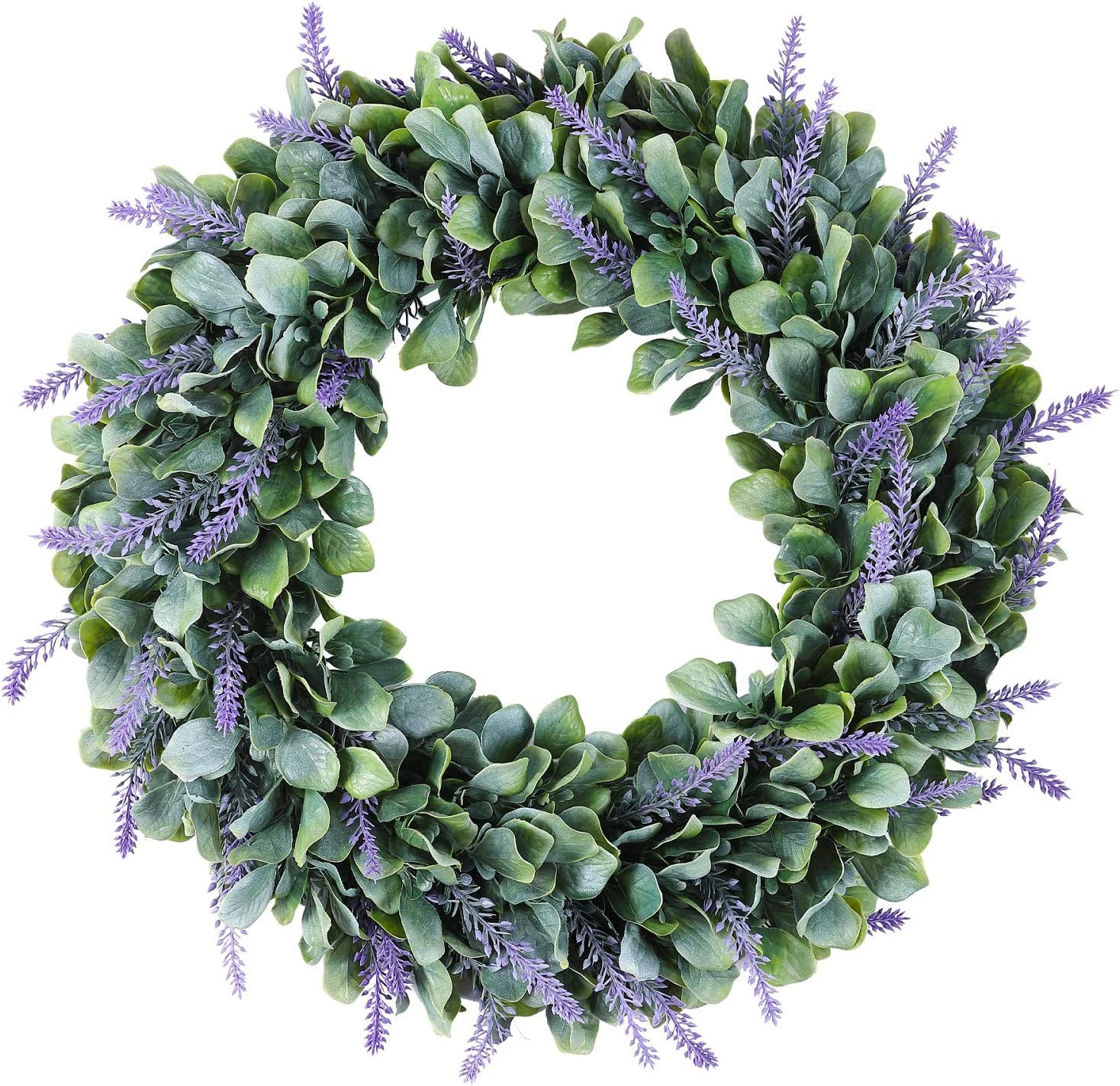 Mr.Bom Front Door Wreath 18 Inch Artificial Lavender Wreaths Christmas Wedding Decor Winter Spring Summer Fall Boxwood Outdoor Indoor Wall Farmhouse Decorations Large Kitchen Welcome Flower Window