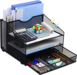 Desk Organzier Mesh Office Supplies Organization with Drawer File Accessories Storage Workspace with 4 Compartments for Women Home Desktop Paper Pen Shelf, Black