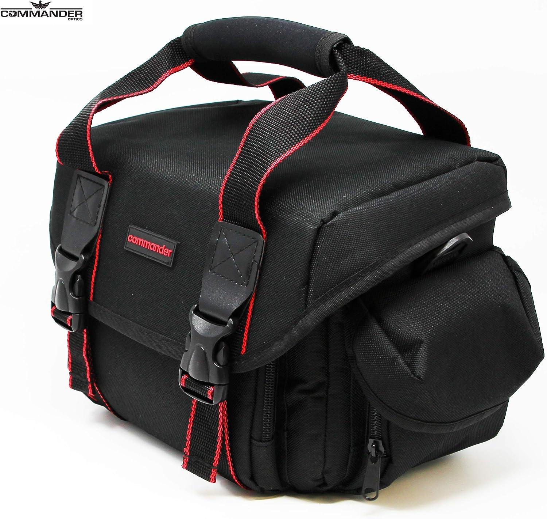 Commander Optics Large Universal DSLR Camera Case Gadget Bag - 11 x 7 x 7 Inches, Black/Red