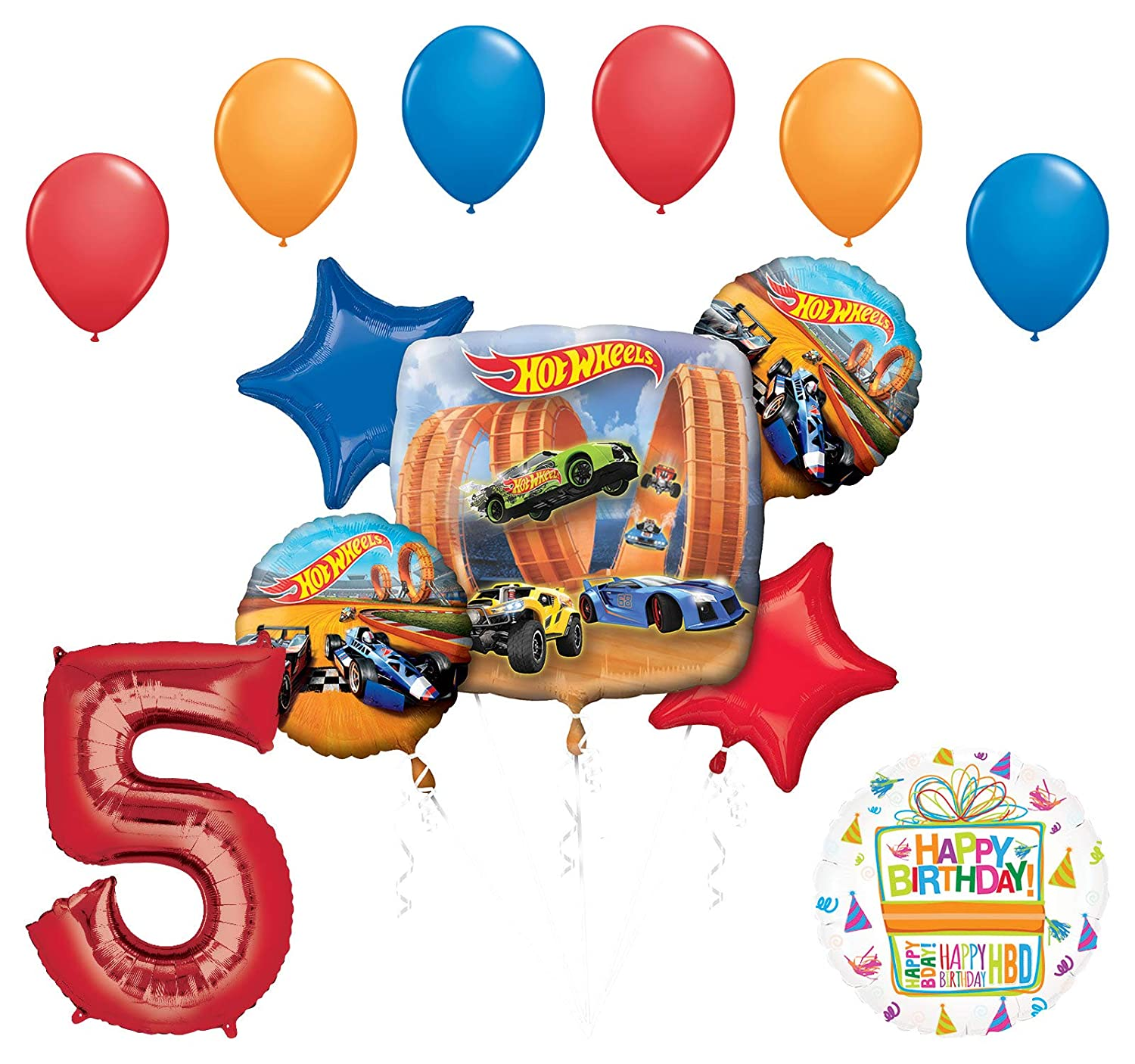 Amazon Mayflower Products Hot Wheels Party Supplies 5th Birthday Balloon Bouquet Decorations Toys Games