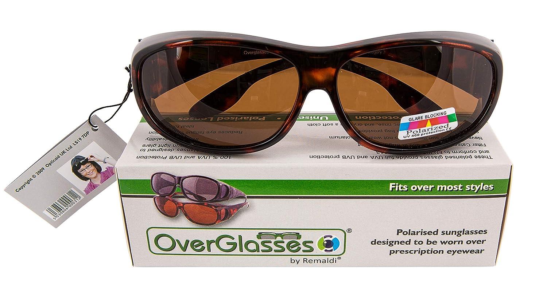 5a47d069420a9 Overglasses Fit Over Sunglasses Wear Over Your Prescription Glasses  Polarised UV400 wrap Around Black Demi Grey Lens Category 3  Amazon.co.uk   Health ...