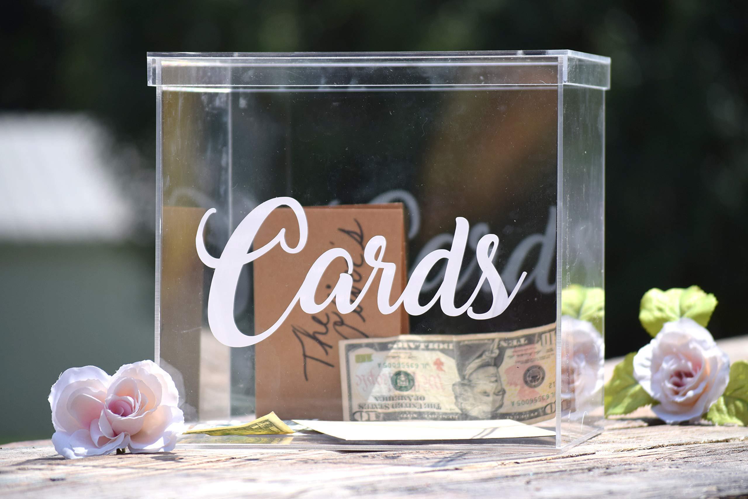 Clear Card Box - Wedding Card Box - Personalized Card Box - Wedding Keepsake Box - Acrylic Card Box - Wedding Card Box with Slot - Card Box for Wedding by Country Barn Babe