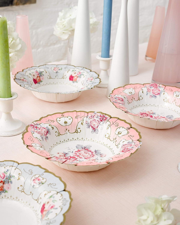 Blu//Rosa per festicciola Confezione da 12 t/è o Compleanno Floreali Ciotole di Carta Truly Scrumptious Design Vintage in 2 Talking Tables