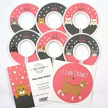 Delicush Baby Closet Dividers, Cats, Nursery Closet Organizers, Set Of 6 Size  Organizers