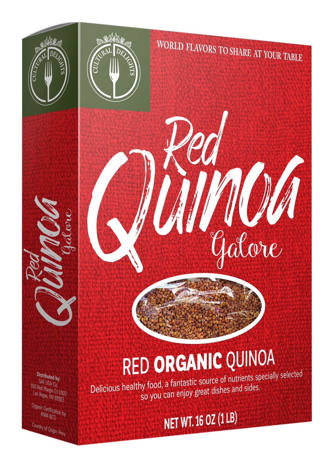 Culture Foods The Finest Organic Red Quinoa Peruvian Whole Grain 24 Piece Value Pack by Culture Foods