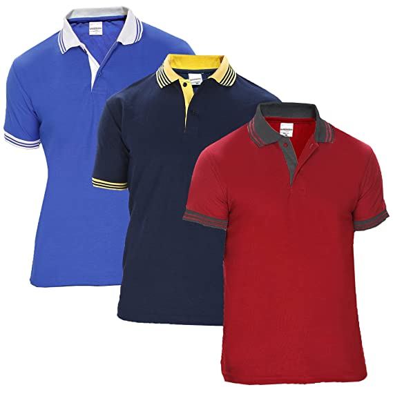6a8175f3 Baremoda Men's Polo T Shirt Maroon Blue Navy Combo Pack of 3: Amazon ...