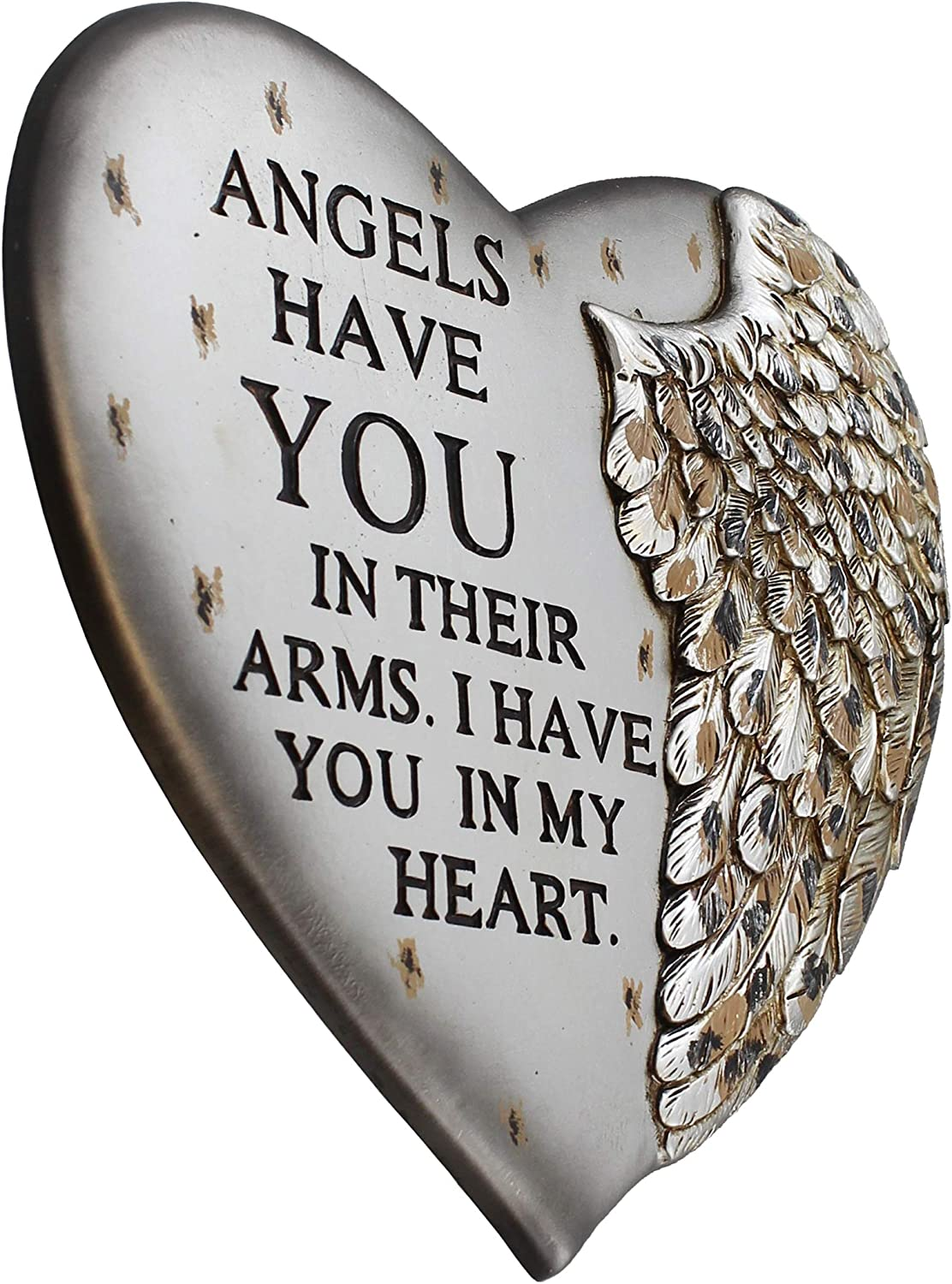 Angel Wing Heart Memorial Plaque - Wall & Garden - Angels Have You in Their Arms I Have You in My Heart