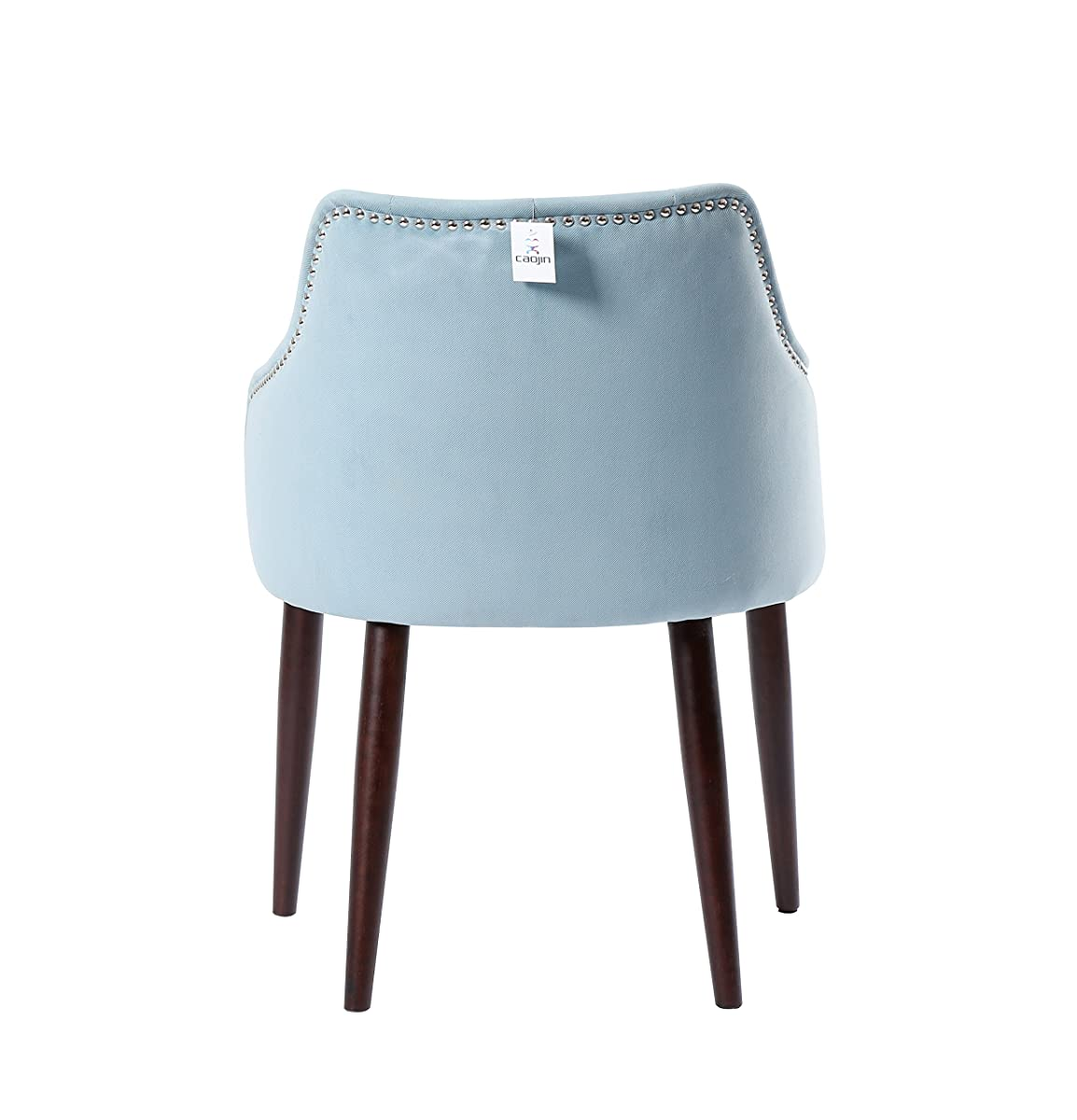 Caojin Classic Fabric Tufted Upholstered Dining Chair with Solid Wood Legs and Nailhead, Aqua, Set of 2