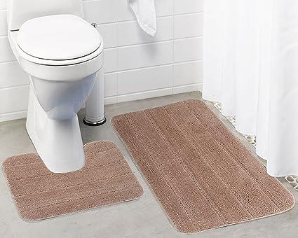 Lushomes Ultra Soft Microfiber Polyester Beige Regular Bath Mat Set