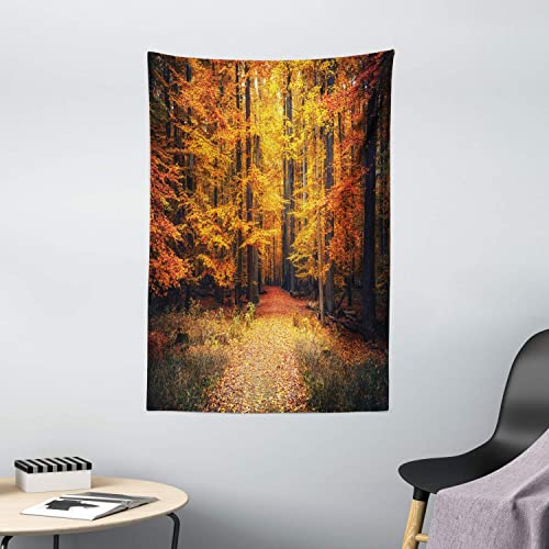 Ambesonne Forest Tapestry, Fall Photo in National Park with Vivid Leaf Plant Eco Earth Mystical Theme, Wall Hanging for Bedroom Living Room Dorm Decor, 40 X 60 , Orange Brown