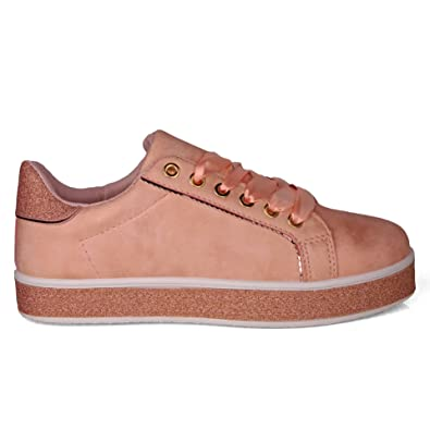 a08b50367dc Pinkpoca Womens Ribbon Lace up Glitter Sparkly Trainers Sneakers   Amazon.co.uk  Shoes   Bags