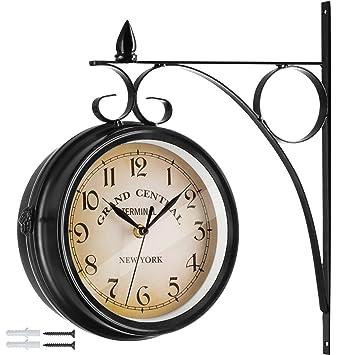 TecTake 800573 - Reloj de pared Vintage, 2 Esferas ampliamente legibles, Fácil de montar - disponible en diferentes Colores (Negro | No.