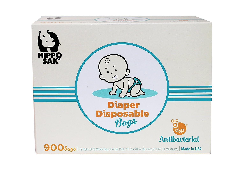 Hippo Sak Antibacterial Diaper Disposal Bags, 450 Count, white HippoDiaper450