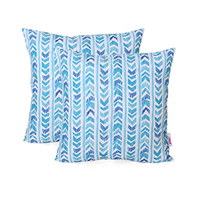 Christopher Knight Home 311784 Leona Outdoor Throw Pillow (Set of 2), Blue : Garden & Outdoor
