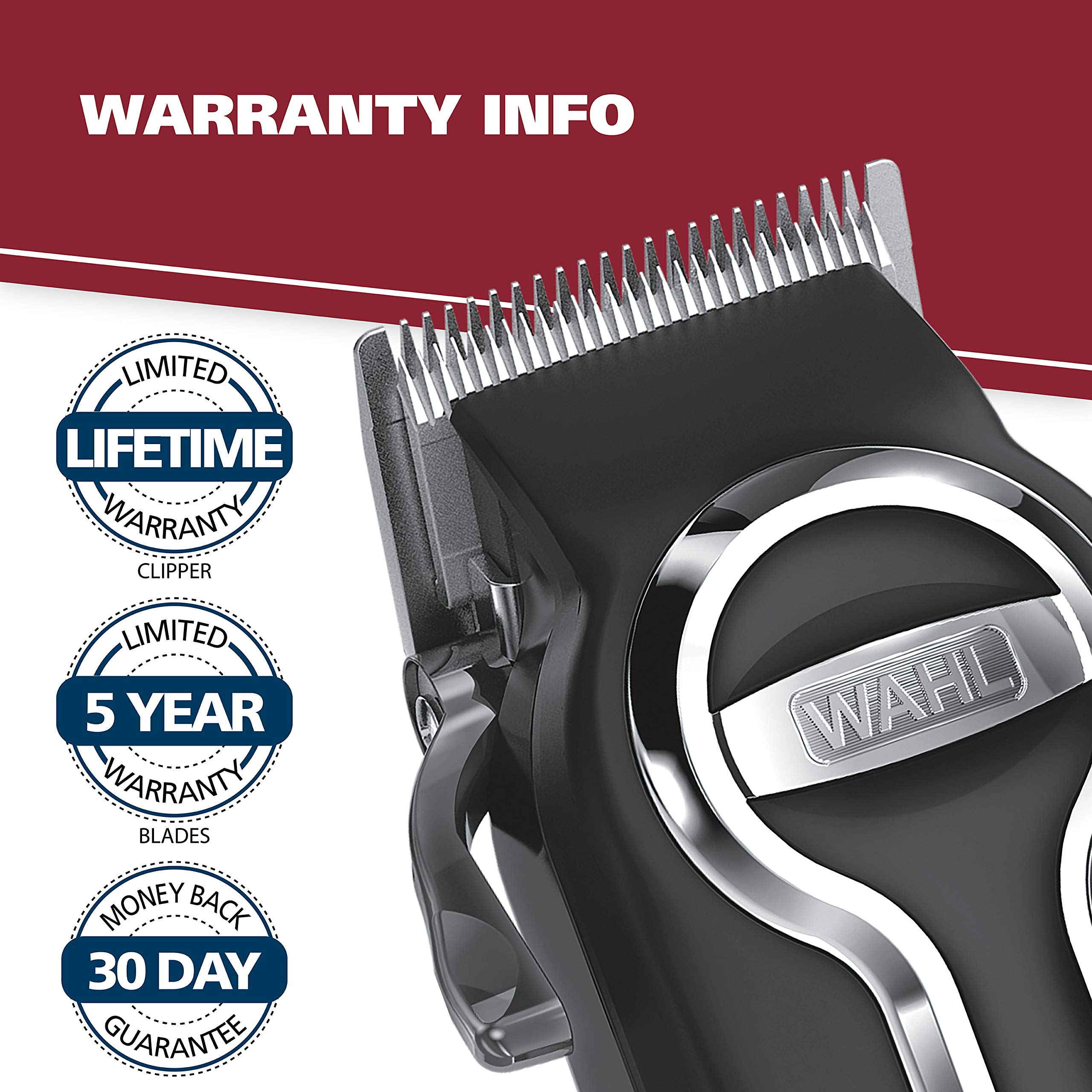 Wahl Clipper Elite Pro High Performance Haircut Kit for men, includes Electric Hair Clippers, secure fit guide combs with stainless steel clips - By The Brand used by Professionals #79602 by WAHL (Image #9)