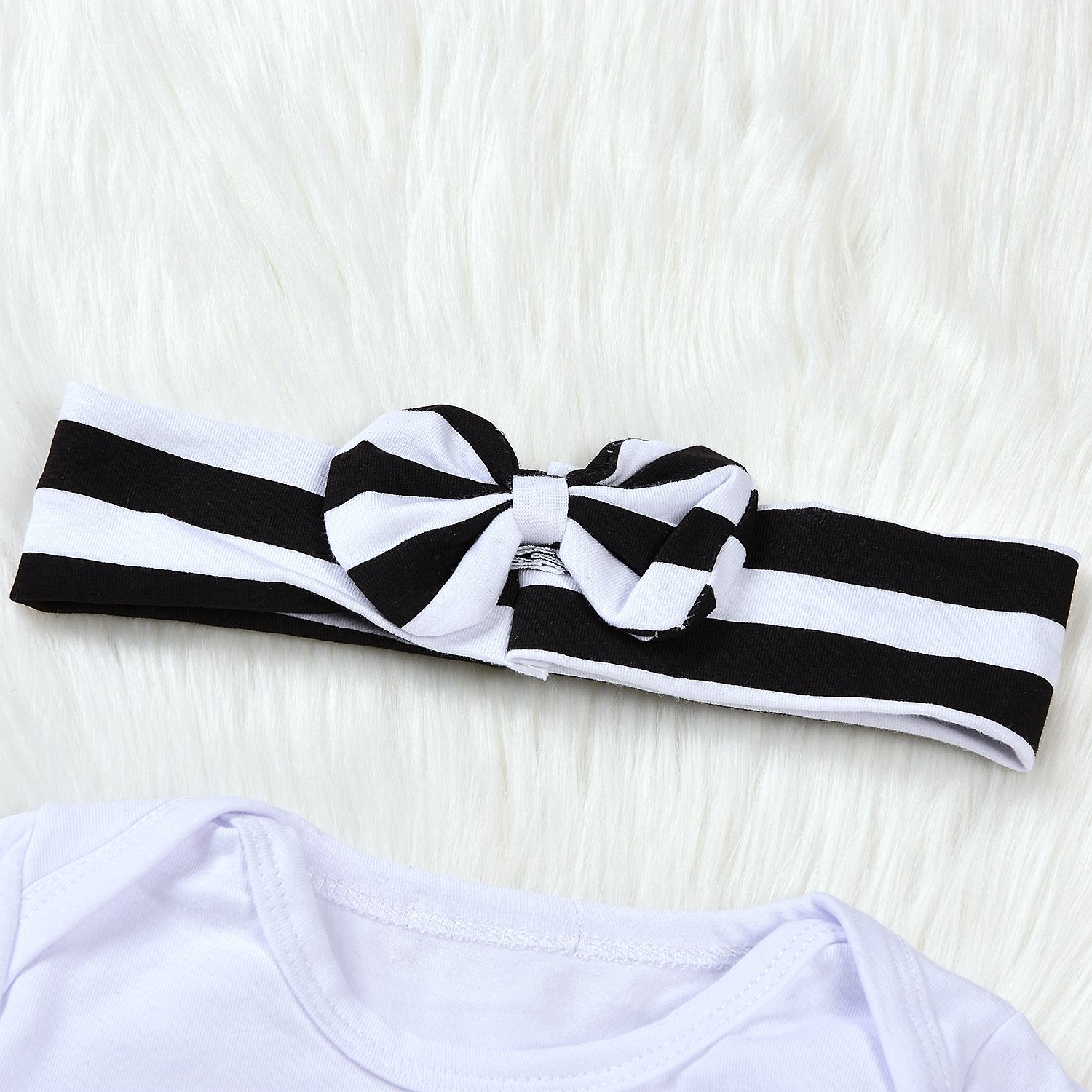 Striped Long Pants and Hat Newborn 4pcs Set Outfit Striped Hoodie with Romper Jumpsuit