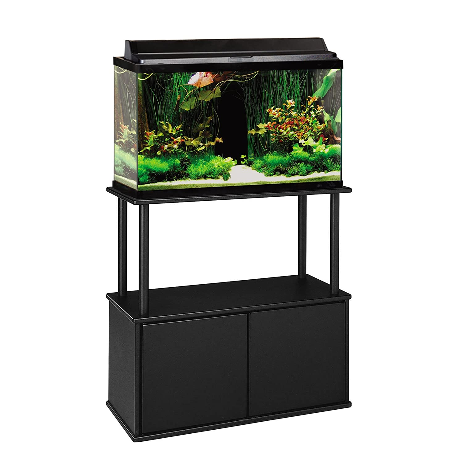 Amazon Aquatic Fundamentals Black Aquarium Stand with Storage