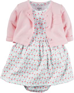 Carters Baby Girls 2 Piece Floral Dress Set Pink/Geo Pattern-NB