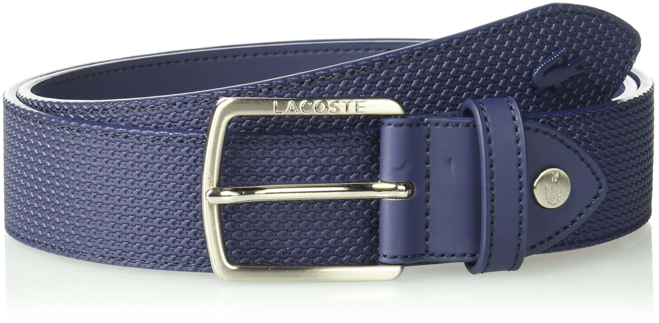 Lacoste Men's 35mm Stitched Raw Edges Belt, Peacoat, US 34/EU 85 by Lacoste (Image #1)