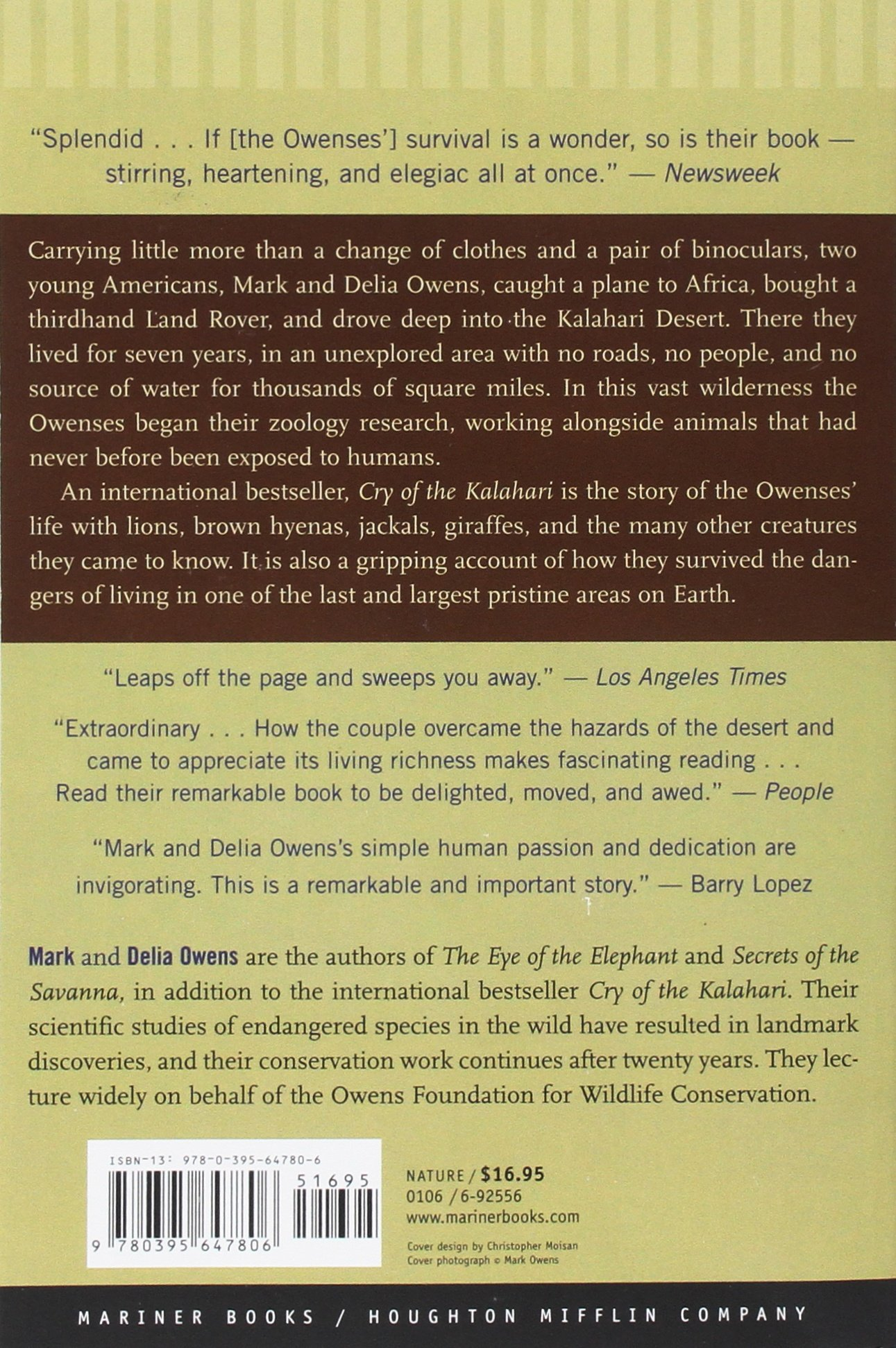 Cry Of The Kalahari: Amazon: Mark Owens, Delia Owens: 0046442647809:  Books