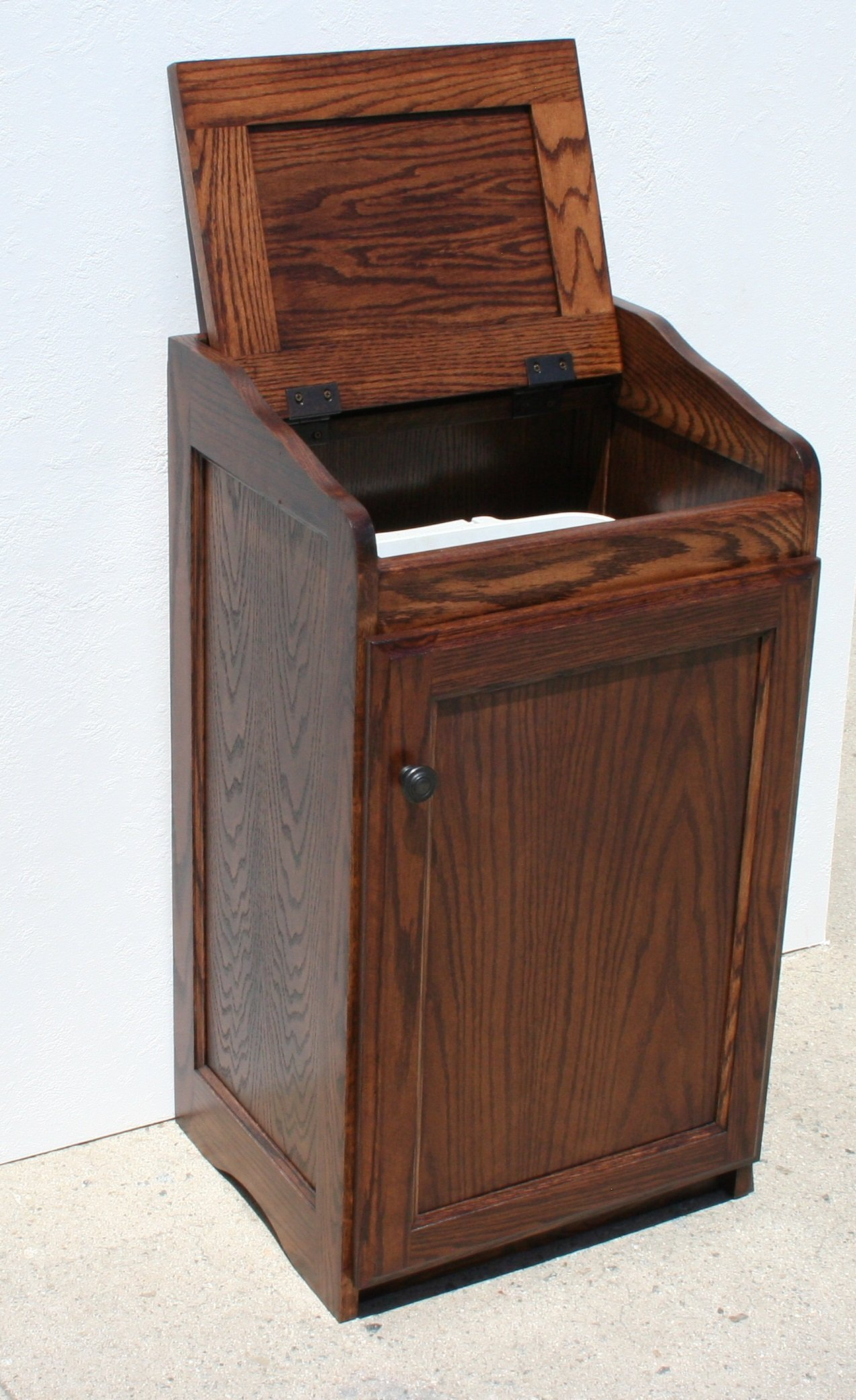 Wood Wastebasket, Kitchen Organizer Storage, Trash Can. Coffee Oak Color