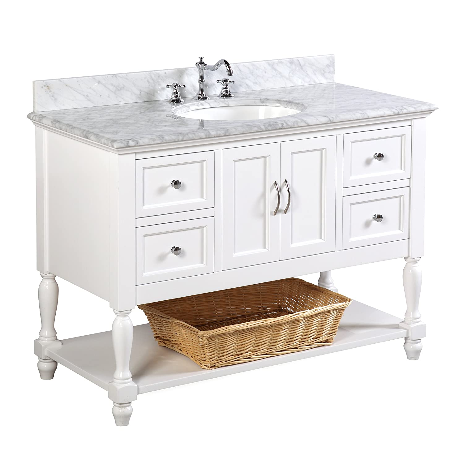 Beverly 48 inch Bathroom Vanity Carrara White Includes