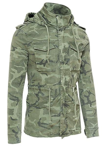 2ab814a29c AK collezioni Giubbotto Parka Uomo Mimetico Militare Casual Giacca Trench  Camouflage con Cappuccio