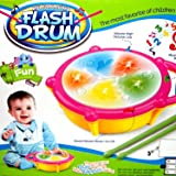 CM SALES Educational Multicolored Musical Flash Drum with 3D lights & Sticks, Multi Color