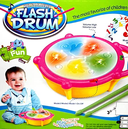 CM SALES MAGNIFICO Plastic Educational Musical Flash Drum with 3D Lights and Sticks (Multicolour)