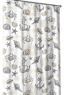 Nautical Ocean Sea Life Theme Canvas Fabric Shower Curtain Brown Beige Grey White