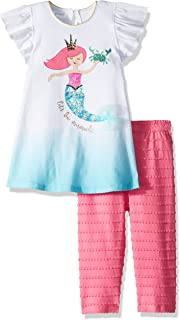 921859ffee0 Mud Pie Baby Girls Mermaid Flutter Sleeve Tunic and Capri 2 Piece Playwear  Set