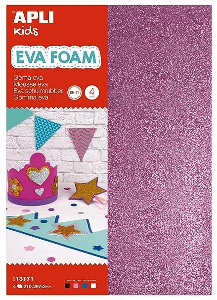APLI Kids - Bolsa goma EVA purpurina, colores blanco, negro, rosa y azul