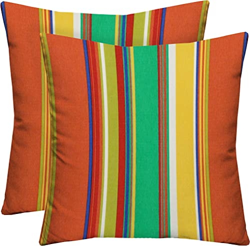 Set of 2 Indoor Outdoor 17″ Patio Furniture Square Decorative Throw Toss Pillows Water Resistant
