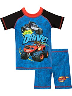 f6d770124591a Blaze and the Monster Machines Boys' Blaze and Crusher Two Piece Swim Set
