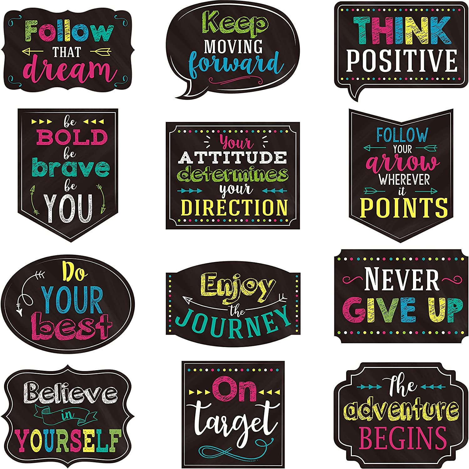 12 Pieces Chalkboard Bright Positive Sayings Motivational Classroom Decor Inspirational Quotes School Wall Art Classroom Positive Quotes Wall Decor with Glue for Home Classroom and Office Decoration