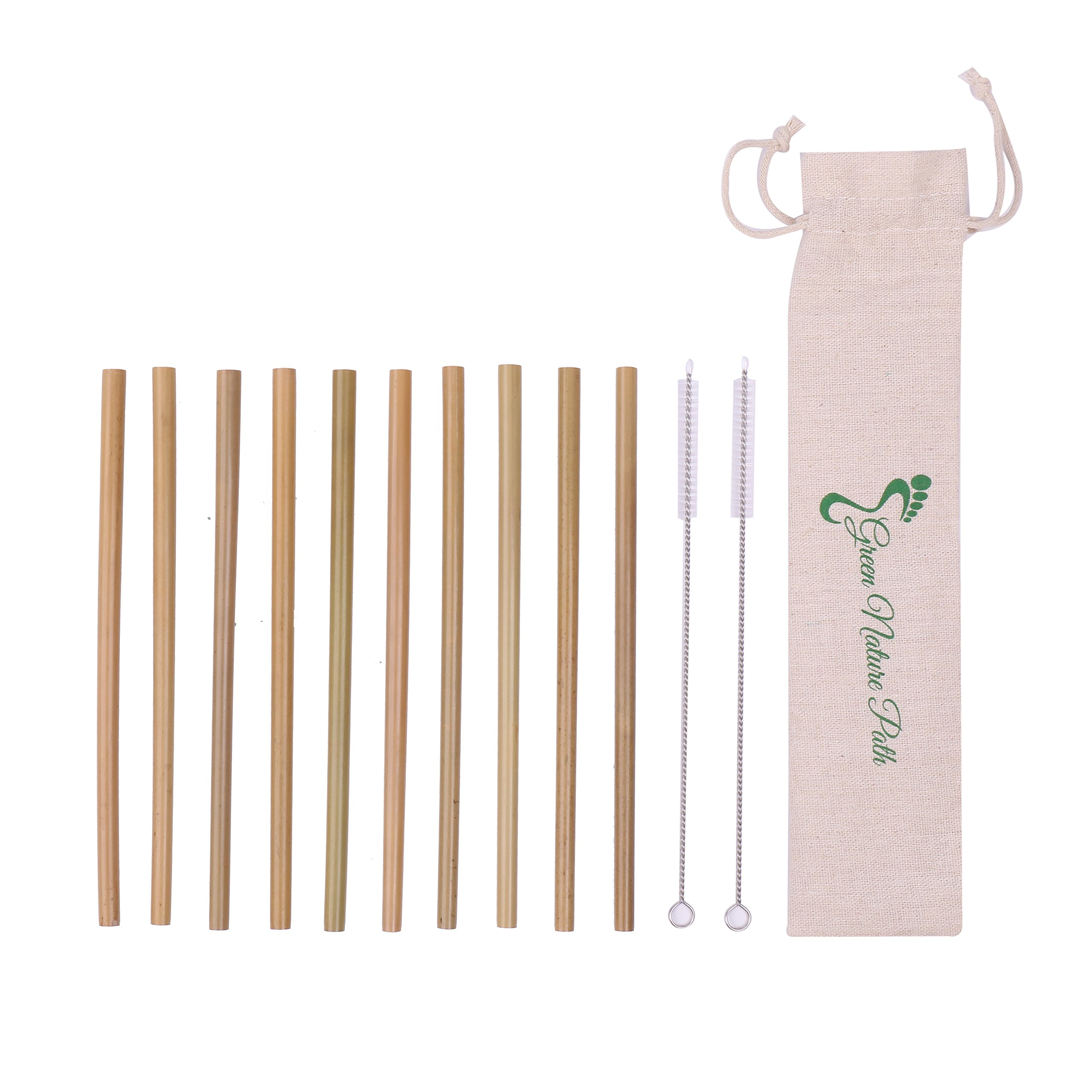 Bamboo Straws – Set Of 10 Reusable Straws, 2 Cleaning Brushes & Linen Storage Bag – Eco-Friendly Dishwasher Safe Biodegradable Natural Organic Bamboo Straws For Cold Drinks & Hot Beverages