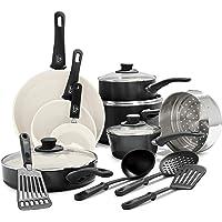 GreenLife Soft Grip 16pc Ceramic Non-Stick Cookware Set, Black
