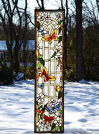 9u0026quot; X 36u0026quot; Tiffany Style Stained Glass Window Panel Butterfly Garden  Flower