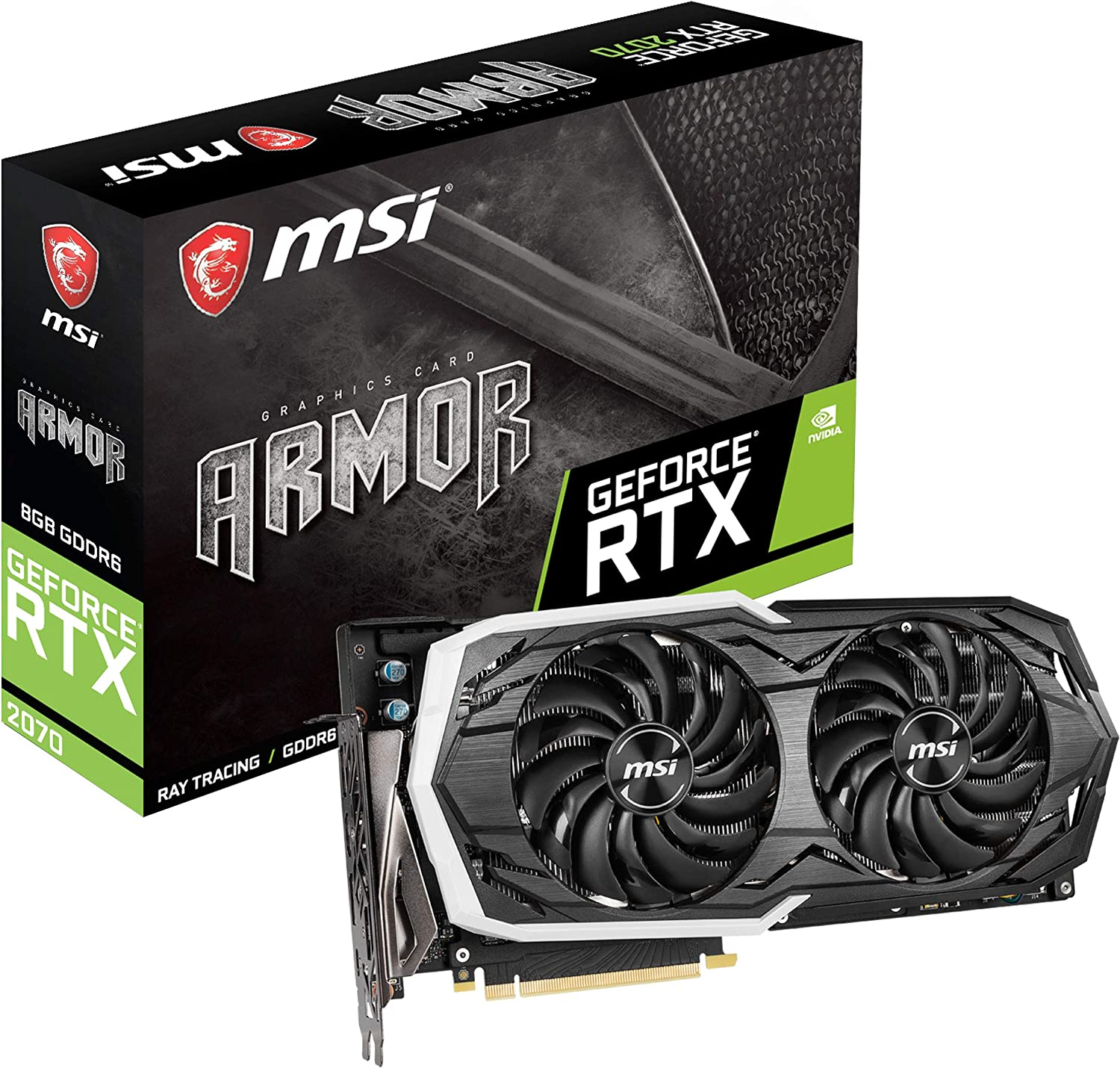 MSI GAMING GeForce RTX 2070 8GB GDRR6 256-bit HDMI/DP/USB Ray Tracing Turing Architecture HDCP Graphics Card (RTX 2070 ARMOR 8G)