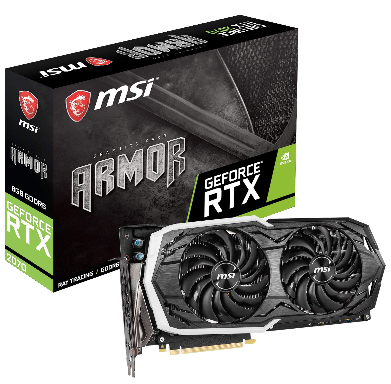 MSI Gaming GeForce RTX 2070 8GB GDRR6 256-bit HDMI/DP/USB Ray Tracing Turing Architecture HDCP Graphics Card (RTX 2070 Armor 8G OC)